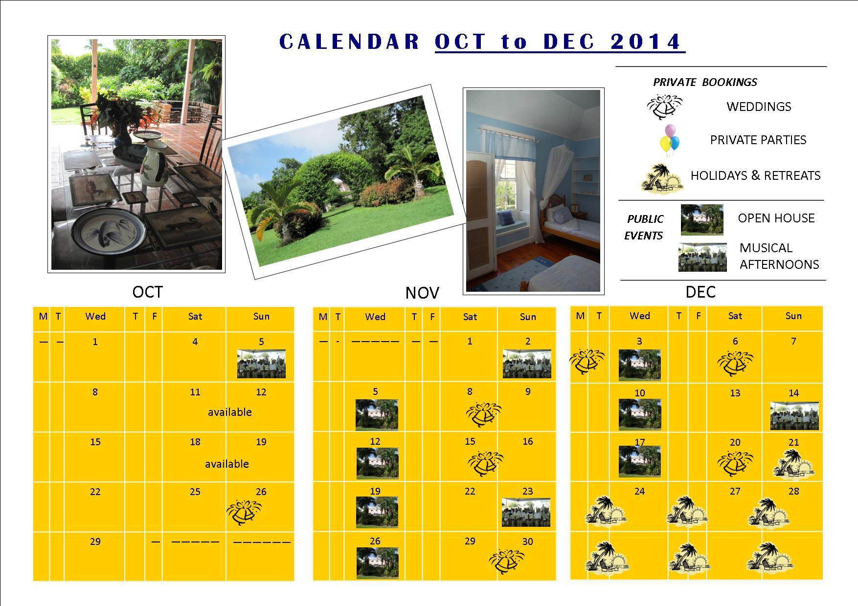 calendar 2014 oct - dec